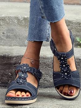 Retro Solid Flat Ladies Sandal