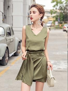 Elegant Sleeveless Tie Wrap Twp Piece Skirt Set
