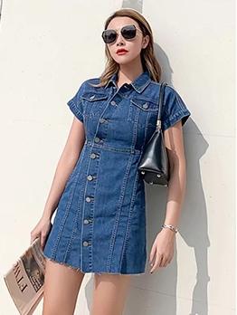 Single-Breasted Short Sleeve Denim A-Line Dress