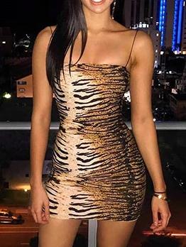 Animal Print Spaghetti Strap Short Sleeveless Dress