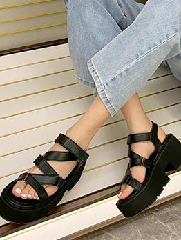 Simple Solid Women Black Platform Sandals
