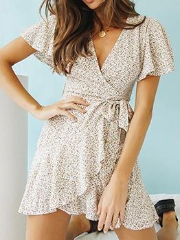 Vacation Style V Neck Sweet Chiffon Printed Dress