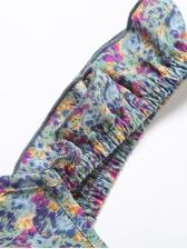 Stringy Selvedge Backless Sleeveless Print Dress