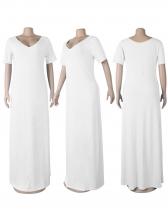V Neck Solid Color Short Sleeve Maxi Dress Casual