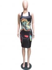 Cartoon Pattern Sleeveless Knee Length Dress