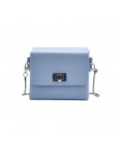Twist Lock Solid Square Box Crossbody Bags