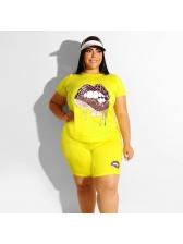 Crew Neck Lips Printed Plus Size Activewear