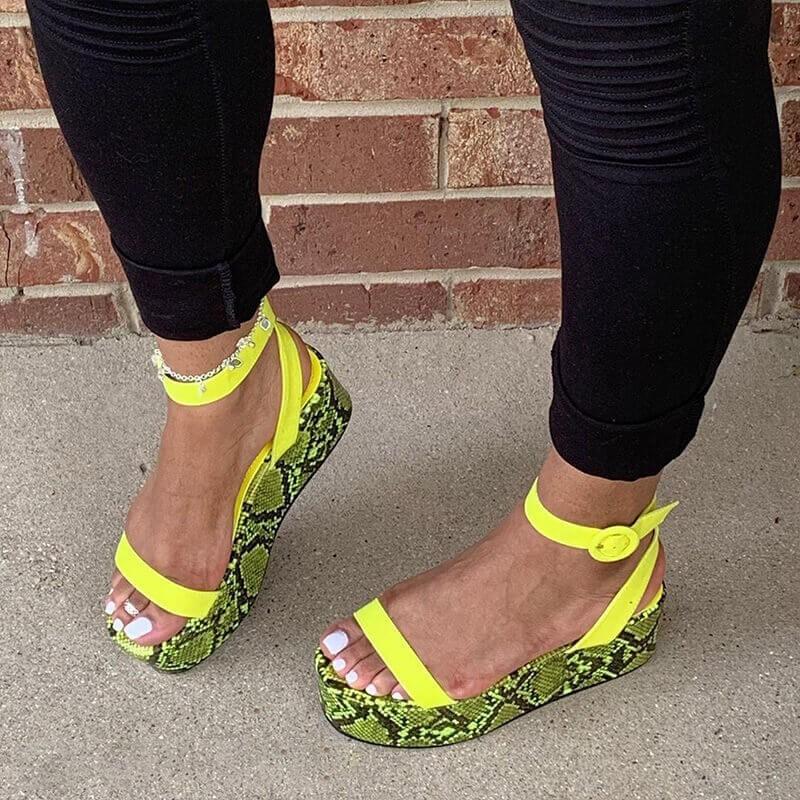 Euro Animal Printed Female Platform Sandals