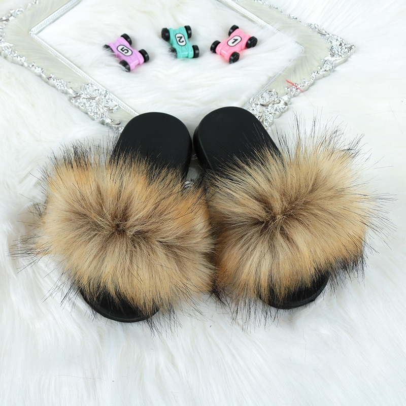 Faux Fur Home Non Slip Kids Slippers