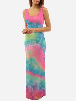 Tie Dye High Slit Sleeveless Maxi Dress