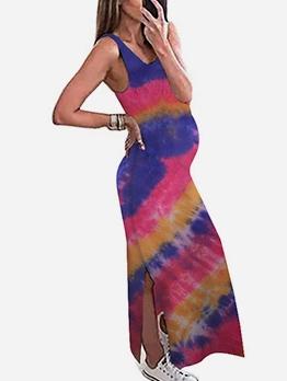 Tie Dye Side Slit Sleeveless Maternity Dress