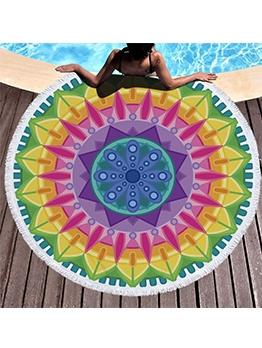 150*150cm National Style Printed Round Beach Blanket