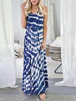 Temperament Tie Dye Sleeveless Summer Women Dress