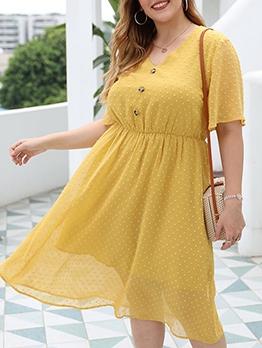 V Neck Yellow Short Sleeve Plus Size Dresses