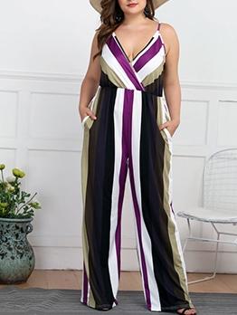 Euro Design Stripe Loose Plus Size Jumpsuits