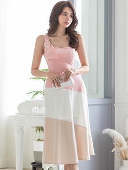 Stylish Color Block 2 Piece Skirt Set