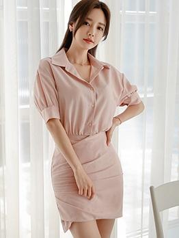Sweet Solid Bodycon Shirt Ladies Dress