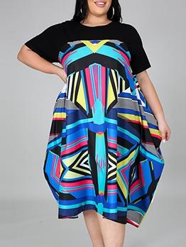 Plus Size Geometric Print Loose Midi Dress