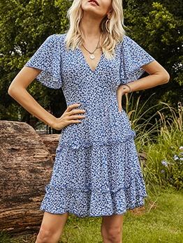 Ruffle Sleeve Summer Floral Short Dress