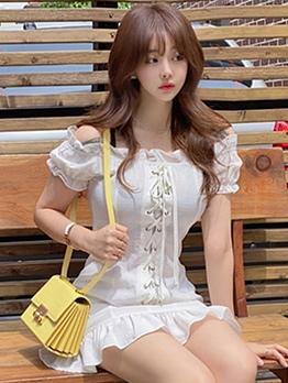 Fashion Front Bandage Ruffled Short Sleeve Dress
