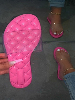 Clear Upper Solid Beach Cute Slippers