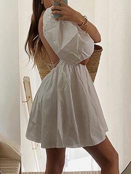 Square Neck Backless White Short Sleeve Dress