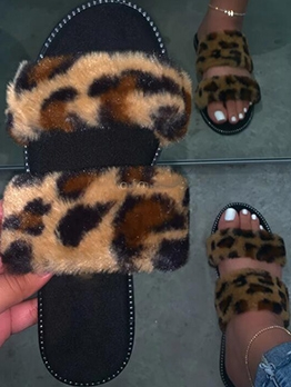 Summer Faux Fur Patchwork Ladies Slippers
