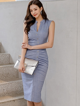 Summer Smart Waist Sleeveless Dress For Work