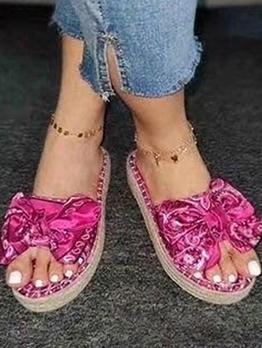 Trendy Satin Bow Decor Platform Womens Slippers
