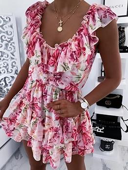Floral Ruffled Sleeveless Summer Dresses