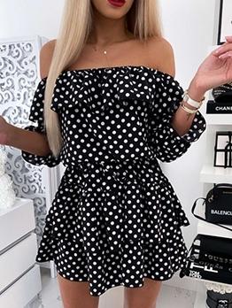 Ruffled Polka Dot Off Shoulder Dress