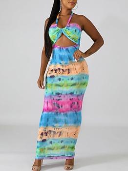 Cut Out Backless Print Halter Maxi Dress Summer