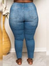 Beading Decor Plus Size Ladies Jeans