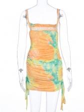 Drawstring Draped Sleeveless Print Dress
