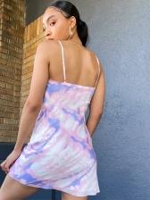 Summer Tie Dye Sleeveless Short Dress