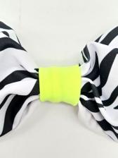 Zebra-Stripe Print Two Piece Bandeau Bikini