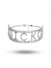 Shiny Rhinestone Letter Design Choker Necklace