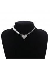 Faux Pearl Patchwork Chain Heart Pendant Necklace