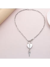 Heart Lock And Key New Design Chain Necklace