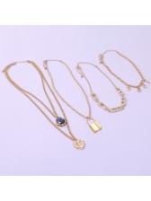 New Design Lock Letter Multiple Pendant Necklace