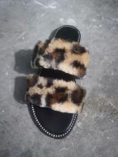 Summer Faux Fur Patchwork Ladies Slippers
