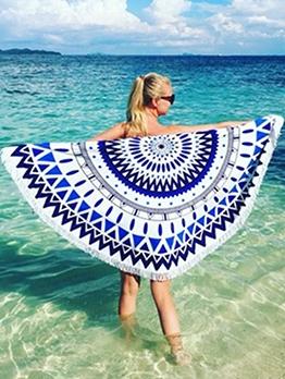 Geometric Print Tassel Detail Round Beach Blanket
