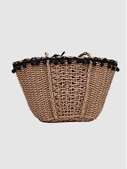 Straw Design Pom Pom Ball Summer Shoulder Bags