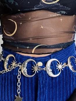 Crescent Solid Color Punk Style Chain Waist Belt