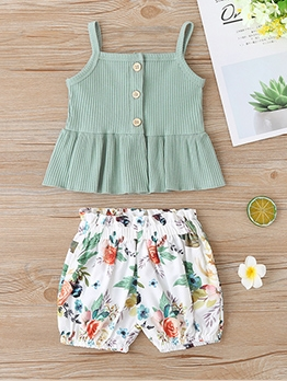 Green Camisole Top With Floral Shorts For Girl