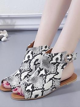 Peep Toe Open Heel Womens Flat Sandals