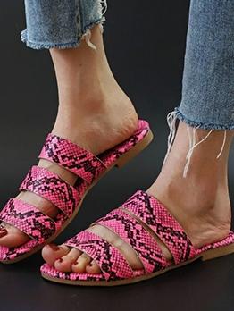 Snake Skin Printed Female Summer Slippers