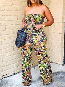 Printed Strapless Wide Leg Two Piece Pants Set