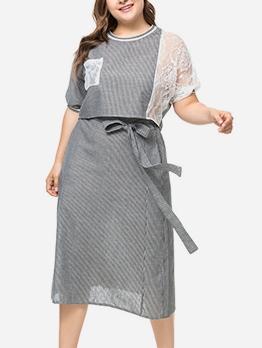 Euro Design Stripe Plus Size Two Piece Sets