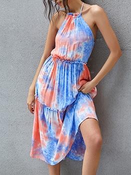 Stylish Tie Dye Sleeveless Midi Dress